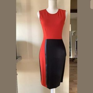 Kenneth Cole Dress Black Red Front Zipper Size 2